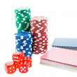 Poker chips, cards and red dice cubes — Stock Photo