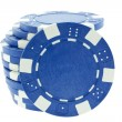 Blue poker chips isolated — Stock Photo #4017057