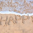 "Word ""happy"" written on beach sand — Stock Photo"