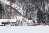 Alpine village at snow winter — Stock Photo