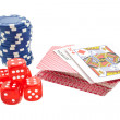 Stock Photo: Poker chips, cards and red dice cubes isolated