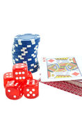 Poker chips, cards and red dice cubes isolated — Stock Photo