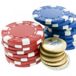 Stock Photo: Multicolor poker chips and euro coins