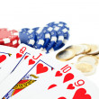 Stock Photo: Playing cards, multicolor poker chips and euro coins