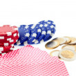 Poker chips, cards and euro coins — Stock Photo