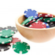 Multicolor poker chips bowl — Stock Photo