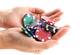 Multicolor poker chips handful — Stock Photo