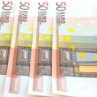 Fifty euro notes background — Stock Photo