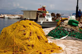 Fishing nets in harbor — Stock Photo