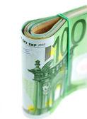 Walcowane z gumy banknotów euro — Zdjęcie stockowe
