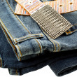 Blue denim jeans and strap leather belt — Stock Photo #5241495