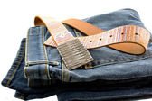 Blue denim jeans and strap leather belt — Stockfoto