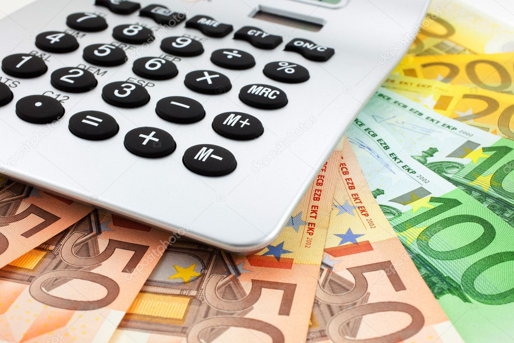 Euro notes with calculator. closeup. small GRIP — Stock Photo #5243832