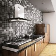 Modern ebony wood kitchen interior 3d — Stock Photo