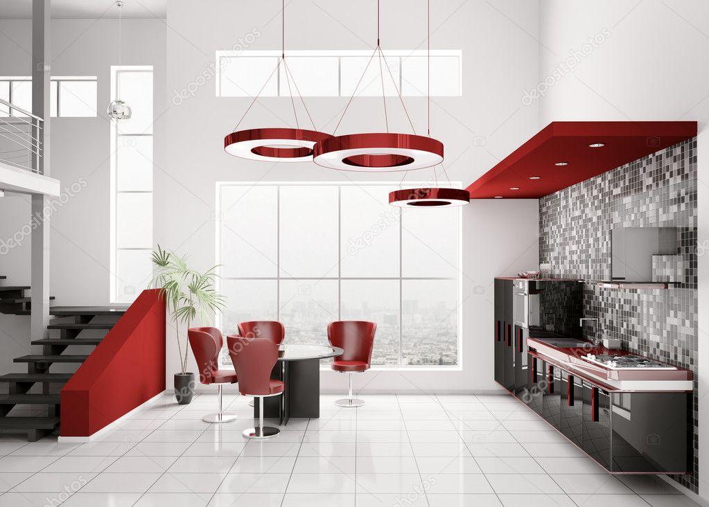 Interieur van moderne zwart wit rood keuken 3d render — Stockfoto ...