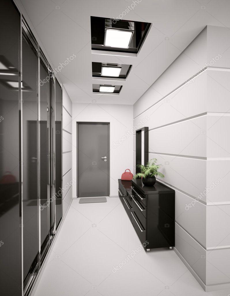 Interieur van moderne entreehal in appartement 3d render stockfoto scovad 3947718 - Moderne entreehal ...