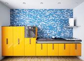 Interior of modern orange kitchen 3d — Stock Photo