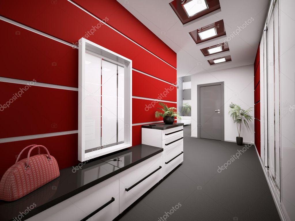 Interieur van moderne entreehal in appartement 3d render stockfoto scovad 3957989 - Moderne entreehal ...