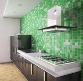 Modern black kitchen interior 3d — Stock Photo