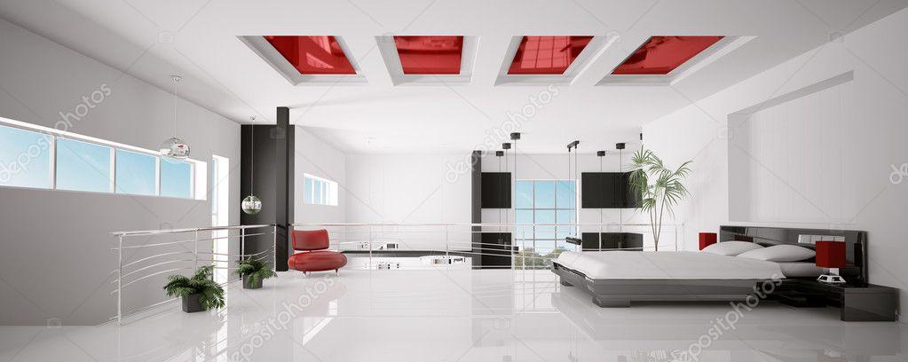 intrieur de chambre coucher moderne panorama 3d render photo 3992287 intrieur moderne chambre noir rouge - Chambre A Coucher Moderne Rouge Et Noir