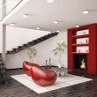 Modern interior with fireplace and staircase 3d render - Stok fotoğraf