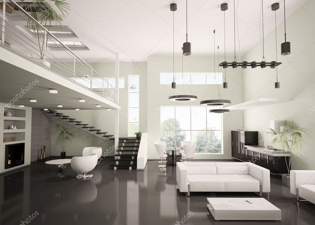 Modern appartement interieur 3d render — stockfoto © scovad #4054856