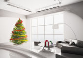 Christmas fir tree in living room interior 3d render — Stock Photo