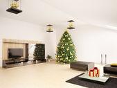 Vánoční strom jedle v moderním obývacím pokoji interiéru 3d vykreslení — Stock fotografie