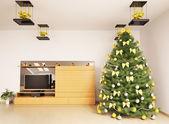 Christmas fir tree in modern living room interior 3d render — Stock Photo
