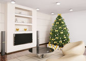 Christmas fir tree in living room interior 3d — Stock Photo