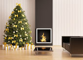 Christmas fir tree in the room with fireplace interior 3d render — Stok fotoğraf