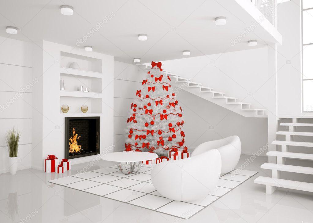 Kerstboom in het moderne interieur 3d render stockfoto scovad 4234678 - Moderne witte kamer ...