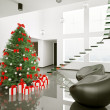 Stock Photo: christmas tree in the modern room interior 3d
