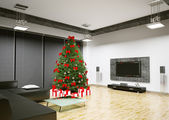 Christmas tree in living room interior 3d render — Stock Photo