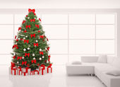 Christmas tree with red decorations in white interior 3d render — Stock Photo