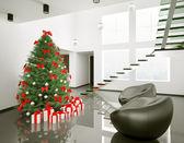 Modern oda iç 3d yılbaşı ağacı — Stok fotoğraf