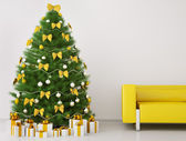 Christmas tree in the room interior 3d render — Stock Photo