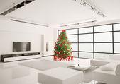 Noel ağacı oturma odası iç 3d render içinde — Stok fotoğraf