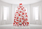 White Christmas tree in the room interior 3d — Stock Photo