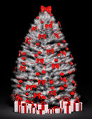 Christmas tree over the black 3d — Stock Photo