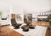 Moderní byt interiér 3d vykreslení — Stock fotografie