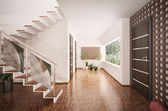 Interior of modern entrance hall 3d render — Stock Photo