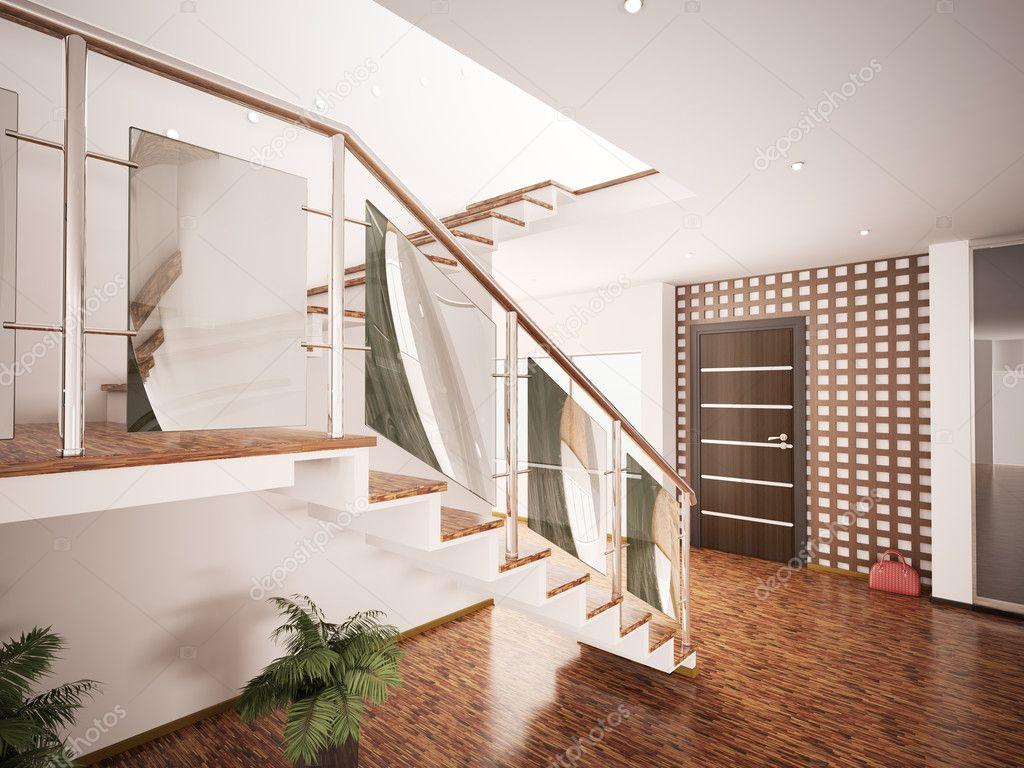 Interno della hall moderna con scala 3d rendering foto stock scovad 4383387 - Hal ingang design huis ...
