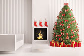 Interior with Christmas tree and fireplace 3d render — Stock Photo