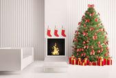 クリスマス ツリー、暖炉の 3 d レンダリング インテリア — ストック写真