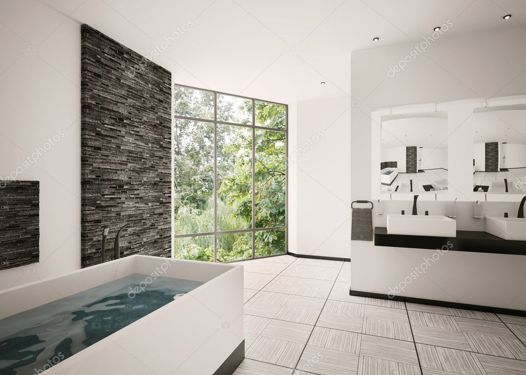 Modern Bathroom Interior 3d Render Stock Photo Scovad 4425976