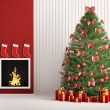 Christmas fir tree and fireplace 3d render - Stock Photo