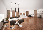 Wnętrze nowoczesne mieszkanie render 3d — Zdjęcie stockowe
