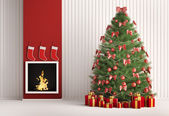 Christmas fir tree and fireplace 3d render — Stock Photo