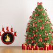 Stock Photo: Christmas fir tree and fireplace 3d render